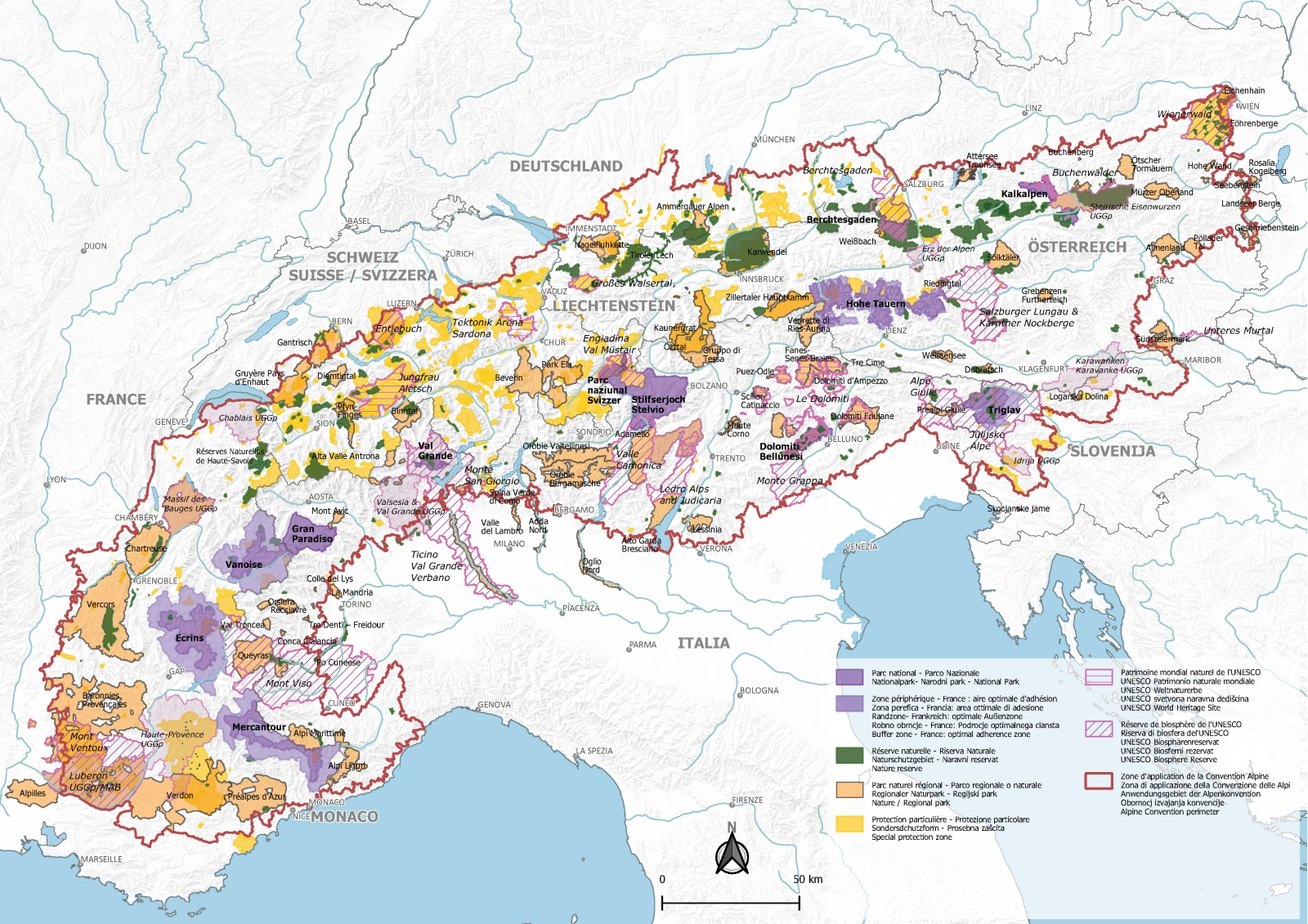 Map of the Alpine protected areas